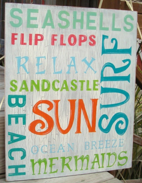 beach words sign